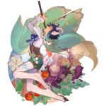 1boy androgynous animal_ears apple bangs black_hair blue_hair bottle bow braid brooch cape corset english_commentary feathers flute food frilled_sleeves frills from_side fruit genshin_impact goat_horns goat_tail gradient_hair grapes green_shorts highres holding holding_instrument hooves horns instrument jewelry leg_tattoo long_sleeves male_focus multicolored_hair pointy_ears rouwan satyr shirt short_hair_with_long_locks shorts simple_background smile solo tail tattoo twin_braids vase venti_(genshin_impact) vision_(genshin_impact) white_background white_shirt windmill wine_bottle