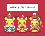 :3 brown_eyes capelet christmas chueog closed_mouth clothed_pokemon commentary fur-trimmed_capelet fur_trim gen_1_pokemon green_capelet green_headwear hat hatted_pokemon holding looking_at_viewer merry_christmas pikachu pokemon red_background santa_hat simple_background smile sparkle