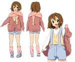 1girl bangs blue_footwear blue_shorts blush brown_eyes brown_hair cardigan commentary_request cowboy_shot derivative_work from_behind full_body gloves hair_between_eyes hair_ornament hairclip hand_up hirasawa_yui jacket k-on! leg_warmers long_sleeves looking_at_viewer medium_hair multiple_views open_mouth overalls pink_legwear pink_scarf pointing_to_the_side red_cardigan red_gloves scarf shirt shoes short_shorts shorts simple_background smile suspender_shorts suspenders upper_teeth vest white_background white_shirt yellow_vest zerozerow3