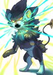 9gojonnybgo absurdres black_fur colored_sclera commentary_request electricity gen_4_pokemon highres looking_to_the_side luxray no_humans open_mouth orange_sclera paws pokemon pokemon_(creature) solo standing teeth toes yellow_eyes