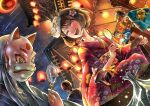 2girls 3boys anpanman anpanman_(character) bangs blue_kimono brown_hair closed_mouth commentary_request dutch_angle fan festival floral_print flower fox_mask gens_lee holding holding_mirror japanese_clothes kimono lantern long_hair looking_at_another mask mask_on_head mirror multiple_boys multiple_girls net night night_sky obi open_mouth original paper_lantern red_kimono sash shooting_star sky star_(sky) sweatdrop water white_flower