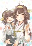 2girls absurdres ahoge black_skirt brown_hair carrying child closed_eyes detached_sleeves double_bun facing_viewer frilled_skirt frills fyuo grin hairband hakama_skirt headgear highres if_they_mated japanese_clothes jewelry kantai_collection kongou_(kancolle) long_hair mother_and_daughter multiple_girls ribbon-trimmed_sleeves ribbon_trim ring short_hair skirt smile wedding_band white_background