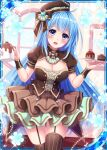 1girl :d blue_eyes blue_hair blue_heart breasts brown_dress brown_ribbon cake collaboration dress falkyrie_no_monshou flower food frilled_skirt frills hat heart holding holding_plate holding_teapot indoors looking_at_viewer medium_breasts official_art open_mouth plate ribbed_hat ribbon shinkai_no_valkyrie skirt smile stardrop striped striped_legwear teapot thigh-highs valentine window