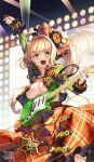 1girl ahoge arm_up bangs blonde_hair blush braid breasts fate/extra fate/grand_order fate_(series) french_braid green_eyes green_shirt guitar hair_between_eyes hair_intakes hair_ornament highres instrument large_breasts long_hair long_sleeves looking_at_viewer lostroom_outfit_(fate) nero_claudius_(fate) nero_claudius_(fate)_(all) open_clothes open_mouth open_shirt orange_skirt plectrum shirt side_ponytail skirt smile suryua sweat