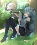 1girl against_tree bangs black_footwear boots bush crossover day gen_5_pokemon grass green_hair green_nails hatsune_miku highres holding holding_paper long_hair lower_teeth meloetta music musical_note mythical_pokemon nail_polish one_eye_closed open_mouth outdoors paper pokemon pokemon_(creature) reirou_(chokoonnpu) shiny shiny_skin singing sitting symbol_commentary thigh-highs thigh_boots tongue tree vocaloid