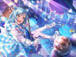 bang_dream! blue_eyes blue_hair blush dress guitar hikawa_hina short_hair smile wink