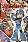 5boys android arm_cannon blue_eyes commentary cover drill_man elec_man energy_beam english_commentary fire_man helmet highres ikehara_shigeto_(style) jordan_gibson mega_man:_fully_charged mega_man_(character) mega_man_(classic) mega_man_(series) multiple_boys open_mouth parody punching retro_artstyle signature skull_man_(mega_man) style_parody tetsuwan_atom weapon