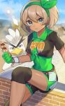 1girl :t bangs bea_(pokemon) blonde_hair blush bodysuit bodysuit_under_clothes bow_hairband breasts clouds collared_shirt commentary_request covered_navel dark-skinned_female dark_skin day dynamax_band eating eyelashes gen_8_pokemon gloves green_bodysuit green_hairband grey_eyes hair_between_eyes hairband highres holding katwo knee_pads looking_at_viewer outdoors partially_fingerless_gloves pokemon pokemon_(creature) pokemon_(game) pokemon_masters_ex print_shirt print_shorts shiny shiny_skin shirt short_hair short_sleeves shorts side_slit side_slit_shorts sirfetch'd sitting skewer sky