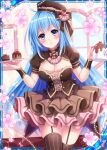 1girl blue_eyes blue_hair breasts brown_dress brown_ribbon cake collaboration dress falkyrie_no_monshou flower food frilled_skirt frills hat heart holding holding_plate holding_teapot indoors looking_at_viewer medium_breasts official_art plate ribbed_hat ribbon shinkai_no_valkyrie skirt smile stardrop striped striped_legwear teapot thigh-highs valentine window