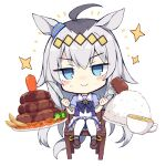 >:) 1girl absurdres ahoge animal_ears bangs black_hair blue_eyes blue_shirt blush_stickers brown_footwear carrot chair closed_mouth commentary_request cup eyebrows_visible_through_hair food fork frilled_skirt frills full_body grey_hair hair_between_eyes highres holding holding_fork holding_knife horse_ears horse_girl horse_tail knife loafers long_hair looking_at_viewer multicolored_hair nibiiro_shizuka oguri_cap_(umamusume) on_chair plate pleated_skirt puffy_short_sleeves puffy_sleeves rice school_uniform shirt shoes short_sleeves simple_background sitting skirt smile solo sparkle tail thigh-highs tracen_school_uniform two-tone_hair umamusume v-shaped_eyebrows very_long_hair white_background white_legwear white_skirt