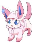 :d azuma_minatsu blue_eyes clothed_pokemon commentary_request creature full_body gen_6_pokemon highres hood hood_up hoodie no_humans open_mouth paws pink_hoodie pokemon pokemon_(creature) simple_background smile solo standing sylveon toes tongue white_background