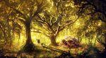 3boys absurdres adventure_time anatofinnstark artist_name bmo finn_the_human forest highres jake_the_dog looking_away multiple_boys nature rock scenery shadow skull sword tree weapon