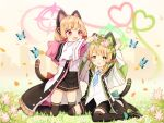 2girls :d animal animal_ears black_footwear black_legwear black_shorts black_skirt blonde_hair blue_archive blue_bow boots bow bug butterfly cat_ear_headphones commentary_request fake_animal_ears flower flower_wreath green_eyes hair_bow halo head_wreath headphones heart insect jacket kneeling layered_sleeves long_sleeves midori_(blue_archive) momoi_(blue_archive) multiple_girls nishina_kakeri on_grass open_clothes open_jacket open_mouth pink_flower pleated_skirt red_bow red_eyes shirt short_over_long_sleeves short_shorts short_sleeves shorts sitting skirt smile thigh-highs thighhighs_under_boots wariza white_jacket white_shirt wide_sleeves