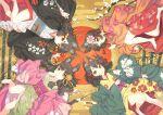4girls animal_ear_fluff animal_ears bell floral_print fox_ears from_above green_kimono grey_kimono grey_sash hair_bell hair_ornament hand_up haori japanese_clothes jingle_bell jonsun kimono long_sleeves looking_at_viewer lying medium_hair multiple_girls obi on_back on_side orange_eyes original parted_lips print_kimono purple_sash red_kimono sash tassel wide_sleeves yellow_kimono
