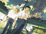 2boys absurdres chain-link_fence clouds color_halftone dutch_angle earphones fence from_below highres ikari_shinji male_focus multiple_boys nagisa_kaworu neon_genesis_evangelion official_art outdoors parabolic_antenna pipe rust scan shirt sony white_shirt