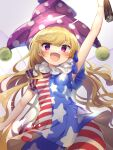 1girl absurdres american_flag_dress american_flag_legwear arm_up blonde_hair clownpiece dress fairy_wings hat highres holding jester_cap long_hair looking_at_viewer neck_ruff open_mouth pantyhose polka_dot purple_headwear shikasui short_sleeves simple_background smile solo star_(symbol) star_print striped torch touhou very_long_hair violet_eyes wavy_hair white_background wings