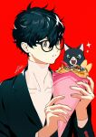 1boy absurdres amamiya_ren animal bangs black_cat black_hair black_jacket blue_eyes btmr_game cat crepe eating food food_in_mouth glasses hair_between_eyes highres holding holding_food jacket long_sleeves male_focus morgana_(persona_5) open_mouth persona persona_5 red_background school_uniform shuujin_academy_uniform signature simple_background sparkle sparkling_eyes upper_body