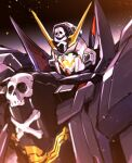 crossbone_gundam crossbone_gundam_x-1 crossbone_gundam_x-1_full_cloth embers glowing glowing_eyes green_eyes gundam highres ishiyumi mecha mobile_suit no_humans open_mouth science_fiction skull_and_crossbones solo upper_body v-fin