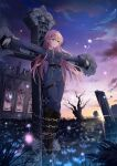 1girl black_footwear blue_jacket blue_pants boots chain cross crucifixion dawn gloves jacket knee_boots legs_together liusu_hongchen long_hair long_sleeves military military_uniform original outdoors outstretched_arms pants pink_hair ruins solo uniform white_gloves