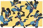 absurdres border commentary gen_4_pokemon highres iorune legs_apart lucario open_mouth orange_eyes pokemon pokemon_(creature) signature spikes standing toes white_border yellow_background yellow_fur