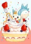 :d cake cake_slice capelet commentary_request confetti crown food fork fruit fur-trimmed_capelet fur_trim gen_4_pokemon highres kikuyoshi_(tracco) no_humans open_mouth pachirisu pokemon pokemon_(creature) ribbon smile solo strawberry tongue upper_teeth