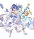 2girls bangs bare_shoulders bell blue_eyes blue_hair breasts catria_(fire_emblem) closed_mouth detached_collar dress feather_trim fire_emblem fire_emblem:_mystery_of_the_emblem fire_emblem:_the_binding_blade fire_emblem_echoes:_shadows_of_valentia fire_emblem_heroes flower full_body hair_ornament highres kakage medium_breasts multiple_girls official_art shiny shiny_hair short_hair simple_background strapless strapless_dress thea_(fire_emblem) transparent_background wedding_dress white_dress white_footwear