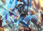 blurry bone closed_mouth clouds commentary_request day electricity from_below gen_4_pokemon highres holding holding_bone legs_apart lucario outdoors pokemon pokemon_(creature) red_eyes ririri_(user_rkrv7838) rock shiny sky solo spikes squatting toes yellow_fur