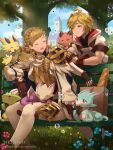1boy 1girl :d ^_^ artist_name bag baguette bangs black_gloves blonde_hair blue_flower braid bread brown_footwear bubble bubble_blowing building closed_eyes closed_mouth commentary crown_braid day dragalia_lost english_commentary euden feet_out_of_frame fingerless_gloves fire_emblem fire_emblem_heroes flower food gloves green_eyes grocery_bag hentaki highres hood hood_down hooded_jacket jacket on_bench open_mouth outdoors paper_bag pink_flower puffy_short_sleeves puffy_sleeves sharena shoes shopping_bag short_sleeves single_hair_intake sitting sitting_on_bench smile thigh-highs tree watermark web_address white_jacket white_legwear wyrm