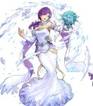 1girl bangs bare_shoulders bouquet breasts detached_collar dress feather_trim fire_emblem fire_emblem:_the_binding_blade fire_emblem_heroes flower full_body hair_ornament highres holding juno_(fire_emblem) long_hair long_skirt low_ponytail medium_breasts official_art purple_hair simple_background skirt solo strapless strapless_dress tied_hair transparent_background uroko_(mnr) violet_eyes wedding_dress white_dress
