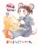 1girl ahoge animal animal_costume animal_ears animal_hood blush brown_eyes brown_hair cheese cheese_hair_ornament commentary_request fake_animal_ears food food_on_face gomennasai hair_ornament hood hood_down long_sleeves looking_away mouse mouse_costume mouse_ears mouse_hood mouse_tail original parted_lips short_twintails simple_background sleeves_past_wrists soles solo tail translation_request twintails upper_teeth whisker_markings white_background