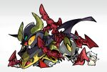 amiami animal blue_eyes colored_sclera gradient gradient_background grey_background gundam highres horns mecha no_humans outline red_tail satan_gundam skull tail white_outline wings yellow_horns yellow_sclera