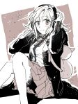 1girl animal_bag bangs blush breasts cat_bag closed_mouth commentary_request danganronpa_(series) danganronpa_2:_goodbye_despair feet_out_of_frame greyscale hair_ornament hairclip hands_up headphones hood jacket long_sleeves looking_at_viewer monochrome nanami_chiaki neck_ribbon pleated_skirt pogdan_(pog_dg3) ribbon shirt sitting sketch skirt smile solo space_print sparkle starry_sky_print two-tone_shirt