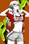 1girl ahoge arms_up bangs behind-the-head_headphones belt black_bra blunt_bangs bra brown_background character_name commission_pdk crop_top glasses graffiti greyscale head_tilt headphones highres hime_cut legs_apart long_hair midriff monochrome off-shoulder_shirt off_shoulder orange_hair persona persona_5 red_shirt sakura_futaba shirt short_shorts shorts signature simple_background solo_focus t-shirt underwear v_arms violet_eyes