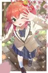 1girl ;d absurdres ahoge alternate_costume bell blazer brown_jacket cherry_blossoms commentary_request flower green_eyes hair_bell hair_ornament hairclip highres hololive jacket jingle_bell one_eye_closed one_side_up open_mouth pleated_skirt redhead sakura_miko school_uniform shaded_face skirt smile solo spring_(season) tatedano_kabae uniform virtual_youtuber x_hair_ornament