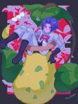 1boy ameya_(okemu_ame) bangs black_footwear black_gloves blue_hair blush boots closed_mouth commentary_request cropped_jacket eyebrows_visible_through_hair gen_1_pokemon gloves hair_between_eyes highres jacket james_(pokemon) male_focus pants pokemon pokemon_(anime) pokemon_(creature) short_hair squiggle sweatdrop team_rocket team_rocket_uniform victreebel white_jacket white_pants