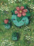 bright_pupils bulbasaur claws closed_eyes commentary_request evolutionary_line flower from_above gen_1_pokemon grass highres ivysaur no_humans outdoors pokemon pokemon_(creature) venusaur wachiko white_flower white_pupils