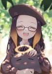 1girl :d beret black_ribbon blurry blurry_background blush brown_shirt closed_eyes commentary creature english_commentary facing_viewer fang glasses gradient_hair halo hat highres hololive hololive_english long_hair long_sleeves mole mole_under_eye multicolored_hair ninomae_ina'nis official_alternate_costume open_mouth orange_hair petting pointy_ears profnote purple_hair ribbon shirt smile solo tako_(ninomae_ina'nis) upper_body virtual_youtuber