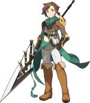 1boy aqua_neckwear armor artist_request asymmetrical_hair bandana bangs black_gloves boots braid breastplate brown_footwear clenched_hand closed_mouth evan_(world_flipper) eyebrows_visible_through_hair fanny_pack fingerless_gloves full_body gloves green_eyes grey_shirt hand_on_hip happy highres holding holding_polearm holding_weapon looking_at_viewer male_focus non-web_source official_art pants plaid_neckwear polearm shiny shiny_hair shirt short_hair shoulder_armor side_ponytail single_braid smile solo standing thigh-highs thigh_boots tied_hair transparent_background vambraces weapon white_pants world_flipper