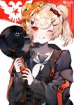 1girl animal_ears arknights bear_ears black_jacket blonde_hair blue_dress candy_hair_ornament chinese_commentary commentary copyright_name cyrillic_commentary dress food food-themed_hair_ornament food_on_head frying_pan gummy_(arknights) hair_ornament hairclip highres holding holding_frying_pan jacket looking_at_viewer muaooooo object_on_head orange_nails pancake pin red_background red_eyes sailor_dress school_uniform short_hair smile solo tongue tongue_out twintails two-tone_background upper_body ursus_empire_logo white_background
