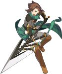 1boy aqua_neckwear armor artist_request asymmetrical_hair bandana bangs black_gloves boots braid breastplate brown_footwear evan_(world_flipper) eyebrows_visible_through_hair fanny_pack fingerless_gloves full_body gloves green_eyes grey_shirt highres holding holding_polearm holding_weapon leg_up looking_at_viewer male_focus non-web_source official_art open_mouth outstretched_arm pants plaid_neckwear polearm shiny shiny_hair shirt short_hair shoulder_armor side_ponytail single_braid solo standing standing_on_one_leg teeth thigh-highs thigh_boots tied_hair transparent_background v-shaped_eyebrows vambraces weapon white_pants world_flipper