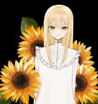1girl arms_behind_back black_background blonde_hair closed_mouth commentary_request donguri_hello dress flower frills hair_between_eyes light_smile long_hair long_sleeves looking_at_viewer original simple_background solo straight-on sunflower upper_body white_dress yellow_eyes yellow_flower