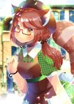 1girl animal_ear_fluff animal_ears apron bangs beret black_ribbon blurry blurry_background blush brown_apron brown_eyes brown_hair brown_headwear closed_mouth collared_dress commentary_request depth_of_field dress eyebrows_visible_through_hair glasses green_dress hair_ribbon hand_up hat inaba_tomoko indie_virtual_youtuber kouu_hiyoyo long_hair looking_at_viewer low_twintails neck_ribbon plaid plaid_dress puffy_short_sleeves puffy_sleeves raccoon_ears raccoon_girl raccoon_tail red-framed_eyewear red_ribbon ribbon semi-rimless_eyewear short_sleeves solo striped_tail tail tail_raised twintails under-rim_eyewear virtual_youtuber