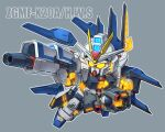 chibi clenched_hand funnels glowing glowing_eyes glowing_hands grey_background gun gundam gundam_seed gundam_seed_destiny holding holding_gun holding_weapon mecha mobile_suit no_humans science_fiction solo strike_freedom_gundam susagane v-fin weapon yellow_eyes