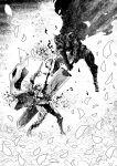 2boys absurdres armor battle berserk berserker_armor blood cape cirenk commentary griffith_(berserk) guts_(berserk) helmet highres holding holding_sword holding_weapon multiple_boys sword weapon