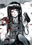 1girl :d bangs black_hair blood blood_on_face blood_splatter bloody_clothes blunt_bangs body_armor broken_bone broken_wall commentary_request dress_shirt greyscale gun guro handgun hat highres hime_cut holding holding_gun holding_pistol holding_weapon injury long_hair long_sleeves looking_at_viewer military military_uniform monochrome neko_zukin one_eye_closed open_mouth original pants pistol pouch shirt sidelocks sitting sleeves_rolled_up smile solo spot_color tareme teeth uniform upper_teeth vest wall weapon white_shirt wing_collar