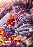 1boy armor artist_name berserk berserker_armor black_cape burning cape copyright_name dragonslayer_(sword) english_text fire glowing glowing_eyes guts_(berserk) huge_weapon male_focus open_mouth red_eyes sword toni_hoang_nguyen torn_cape torn_clothes weapon