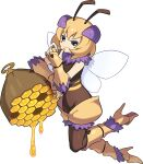 1girl antennae arthropod_girl artist_request bangs bee_girl black_eyes blank_eyes blonde_hair bodystocking boots closed_mouth flat_chest floating food_on_finger from_side full_body fur-trimmed_footwear fur-trimmed_shorts fur_collar fur_trim gauntlets gloves hand_up happy high_heels highres honey honey_(world_flipper) honeycomb insect_wings knee_boots leaning leaning_on_object leg_up non-web_source official_art partially_fingerless_gloves shiny shiny_hair short_hair short_shorts shorts sidelocks smile solo striped transparent_background white_wings wings world_flipper yellow_footwear yellow_gloves yellow_shorts