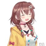 1girl :3 :d =_= absurdres animal_collar animal_ears bangs blush bone_hair_ornament braid breasts brown_eyes brown_hair buttons closed_eyes collar collarbone dated dog_ears dress fangs hair_between_eyes hair_ornament hairclip highres hololive inugami_korone jacket large_breasts long_hair low_twin_braids off_shoulder open_mouth red_collar signature simple_background smile solo traveler_(artbbt) twin_braids twintails upper_body virtual_youtuber white_background white_dress yellow_jacket