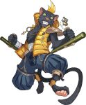 1boy animal_ears animal_nose artist_request bandages black_fur blonde_hair blue_eyes blue_pants body_fur cat_ears cat_tail claws clenched_hands collarbone colored_sclera dual_wielding eyebrow_piercing full_body furry grin hands_up happy highres holding holding_weapon hood hooded_vest hoodie jewelry jumping keychain kuro_(world_flipper) looking_at_viewer male_focus necklace non-web_source official_art open_clothes open_vest orange_legwear panther_boy pants pawpads paws piercing pin pocket ribbon-trimmed_pants ribbon_trim sharp_teeth short_hair shoulder_pads smile socks solo spread_legs stirrup_legwear sweatband tail teeth toeless_legwear tonfa transparent_background uneven_eyes vest weapon whiskers wide-eyed world_flipper yellow_sclera yellow_vest