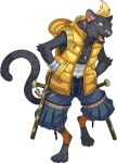 1boy animal_ears animal_nose artist_request bandages black_fur blonde_hair blue_eyes blue_pants body_fur cat_ears cat_tail collarbone colored_sclera eyebrow_piercing fangs full_body furry hands_in_pockets highres hood hooded_vest hoodie jewelry keychain kuro_(world_flipper) leg_up male_focus necklace non-web_source official_art open_clothes open_mouth open_vest orange_legwear panther_boy pants paws piercing pin pocket ribbon-trimmed_pants ribbon_trim short_hair socks solo standing standing_on_one_leg stirrup_legwear sweatband tail toeless_legwear tonfa transparent_background vest weapon whiskers world_flipper yellow_sclera yellow_vest